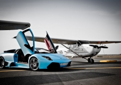 lamborghini murcielago and private airplane