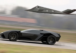 Lamborghini akonian concept with nighthawk jet fighter
