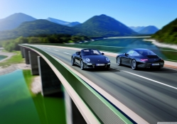 Porsche Crossing On Bridge