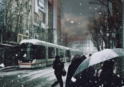 city tram in snow