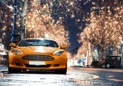 Aston Martin On A Street In Christmas