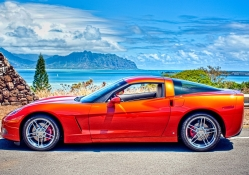 awesome corvette in seascape hdr