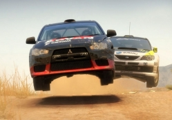 racing car jumping