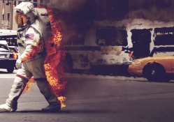 astronaut on fire