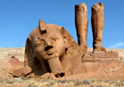 Ramses II Statue in a Natural State, Egypt