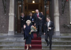 Princess Beatrix leaving City Hall Baarn