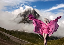 Fashion Model with Mountain Background