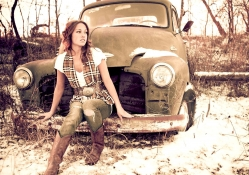 Cowgirl And Old Truck