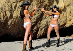 Cowgirls Hand To Hand Combat On A Beach