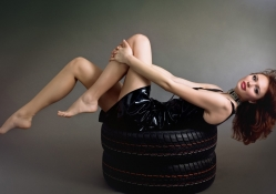 Beautiful girl on tires