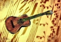 Guitar on Abstract Background