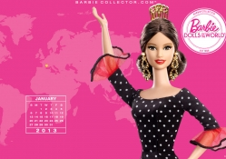 January Spain Barbie Collector 2013 With Pink Bacground
