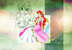 Disney Princess Ariel With Green Background