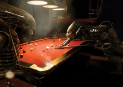 Alien and Predator Playing Pool