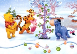 Winnie Pooh and friends at christmas