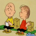 charlie brown and linus eating lunch