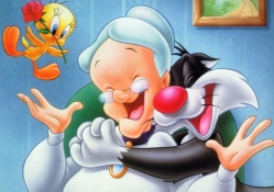 Granny, Sylvester and Tweety