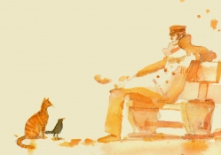 Corto Maltese, cat and bird