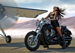 Model on a Motorcycle