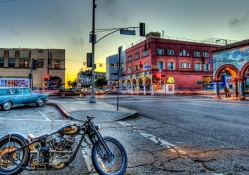 motorcycle on a street in venice california hdr