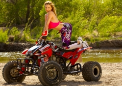Jordan Carver on a ATV