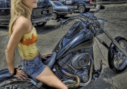 Biker Chick On An Harley