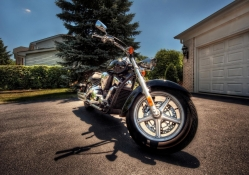 beautiful motorcycle in the driveway hdr
